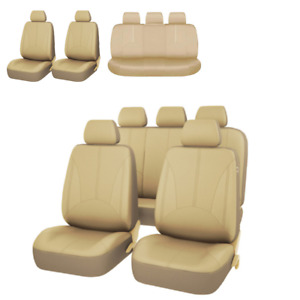 5-Seats Car Seat Cover PU Leather Protector Universal Full Set Beige Accessories