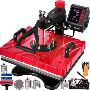 VEVOR Heat Press 10 In 1 Heat Press12 X 15 Red Sublimation Machine for Pen Plate