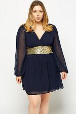 Tunika Gr.48 Pailletten Kleid Longtunika Paillettenkleid Damen blau festlich