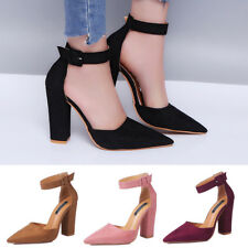 WOMENS LADIES BLOCK HIGH HEEL SANDALS ANKLE STRAP CUFF POINTED TOE SHOES SIZE