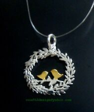craft2design Pendant ~ 925 Sterling Silver Vermeil Loving Bird Pendant 20mm
