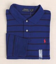 Men Polo Ralph Lauren Striped Long Sleeves Pony Classic Soft Touch Blue Shirt XL