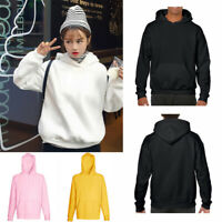 Men Women Sweatshirt Hoodie Pullover Hoody velvet Plain Design Jumper Casual