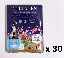 30pcs Korea Beauty cosmetics [Malie] COLLAGEN Essence Face Mask sheets & peels