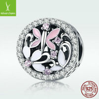 New Summer Dragonfly 925 Sterling Silver Charm Pink CZ Bead For Fashion Bracelet