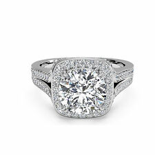 1.24 Ct Solid 14K White Gold  Real Moissanite Stone Engagement Rings Size L M