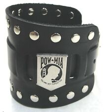 Wide Black Leather Watch Band With POW/MIA Badge Made in USA Buckle Closure