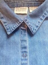 Maternity Denim blue jean shirt Women's L Short Sleeve NEW ADDITIONS