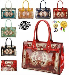 New Women's Elegant Vintage Pattern Patent Tote Hand Bag With Front Belt Detail