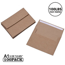 A1 Small Envelope - Mini Brown Kraft Paper Envelopes| Self Sealing |Perfect for