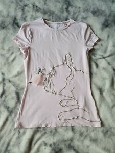 Ted Baker Leella Fairytale Fitted T-Shirt ~ Pale Pink ~ French Bulldog ~ Size 6