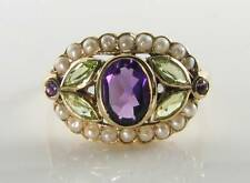 SUFFRAGETTE 9K 9CT GOLD AMETHYST PERIDOT PEARL ART DECO INS CLUSTER RING FREE Sz