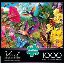Buffalo 1000 Piece Puzzle Hummingbird Garden Vivid Bright Flowers