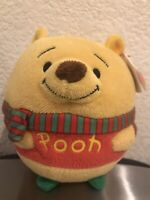 Ty Beanie Ballz Winnie the Pooh Wearing Winter Scarf Christmas Plush NEW Disney