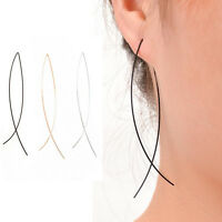 Fashion Woman Double Curved Threader Long Hoop Arched Stick Drop Gold Earrings