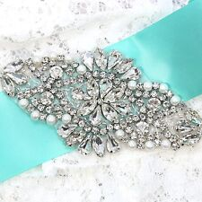 Diamante Flower Ivory Pearl Crystal Beaded Wedding Bridal Sew Iron Applique