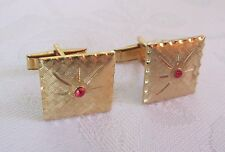 Tone w/Red Stone Starburst Design Vintage Pair Men's Cuff Links Gold