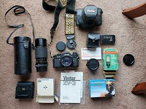 VIVITAR XV-3 35mm Camera - 2 Lenses/Tele Converter/Filter Kit/Flashes/Manual