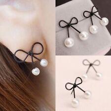 Elegant Faux Pearl Bowknot Fashion Shaped Alloy Studs Earrings Women's Jewelry