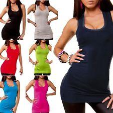 Damen Longtop Tank Top Oberteil Shirt T-Shirt Body Träger in 11 Farben Freesize