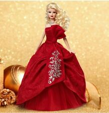 2012 HOLIDAY BARBIE Collector's Doll Christmas Red Satin Gown Silver Brocade Bow