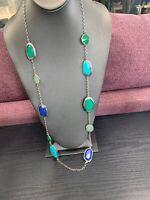 "Women's Ladies Necklace Premier Designs  Blue Green Beaded Silver Bohemian 36"""