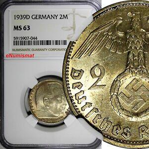 GERMANY-Third Reich Silver 1939 D 2 ReichsMark NGC MS63 Hindenburg KM# 93 (044)