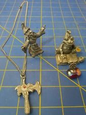 Lot of 4 Pewter Figurines. Wizard. Frog. Flower. Dragon axe.