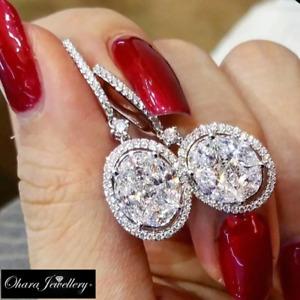 18K White Gold Oval Cluster Silver Cubic Zirconia Leverback Earrings Jewellery