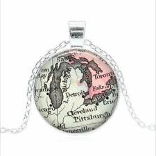 Detroit Vintage Map Tibet silver Glass dome Necklace chain Pendant Wholesale