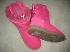 New UGG Australia Bailey Bow Twinface Pink Boots Youth Size 4Y