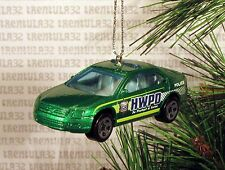 POLICE CAR GREEN CHRISTMAS ORNAMENT XMAS