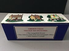 LIBERTY FALLS VILLAGE SET OF 3 Langefeld, Post & Tele Offic & Emma's Cottage NEW