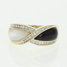 Black Coral & Mother of Pearl Ring - 10k Yellow Gold Diamond Accents .10ctw