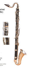 High grade bass clarinet Bb tone Low E type, nickel plated keys,by Eastern music