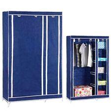 FARNDALE WARDROBE STORAGE CLOSET CLOTHES ORGANISER RAIL HANGING SHELF BLUE