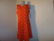 NWT $79.99 ILE NEW YORK Dress Orange with Beige Dots Pleated Fit & Flare Size 10
