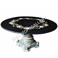 """36"""" Round Marble Black Dining Table Top Floral Marquetry Inlay Home Decors E615"""
