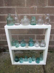 20 Old Vintage Glass Ink Chemist Kitchen Bottles Vases JOB LOT 5-8cm