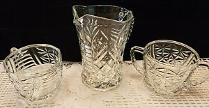 3-PIECE GLASS CREAMERS & SUGAR BOWL ALL WITH RIDGED HANDLES