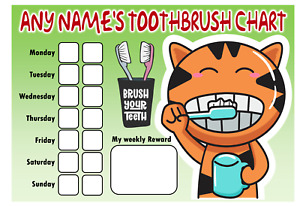 Personalised Toothbrush Chart - Comes with pen - Reward Chart - Cat