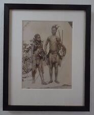 South African Zulu Warriors Antique Albumen Photo Johannesburg 1890 by Pollard