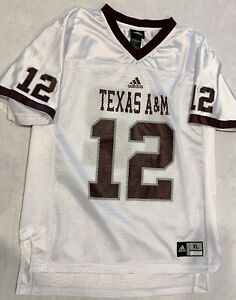 Adidas Texas A&M Aggies #12 Football Jersey White Youth Boys Size XL
