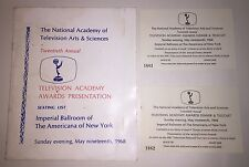 20th Annual Emmy Awards 1968 Seating List & 2 Tickets From Kate Smith ESTATE
