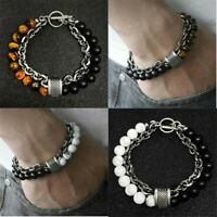 Natural Male Men's Eye Punk Beads Steel Stainless Tiger Bracelet Stone Jewelry