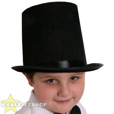 CHILDS BLACK STOVEPIPE TOP HAT KIDS MAGICIAN FANCY DRESS RINGMASTER VICTORIAN