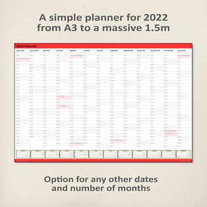 Simple 2022 Wall Planner / Calendar RED - choice of 5 sizes, ship folded/rolled