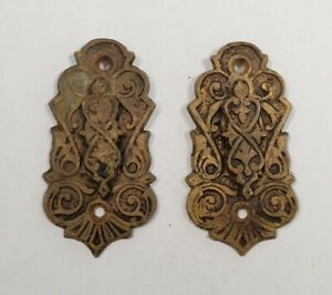 Antique Victorian East Lake Brass Keyhole Escutcheon Covers - Matching Pair #2