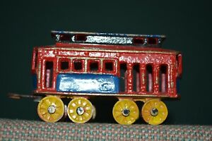 Vintage Original Trolley Cars Metal 8 Wheel Blue & Red Yellow and Blue and Green