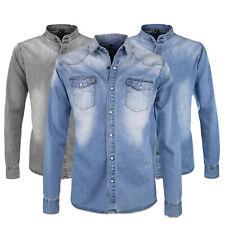 Camicia Uomo Di Jeans Cotone Elasticizzata Casual Slim Fit Blu Denim VEQUE